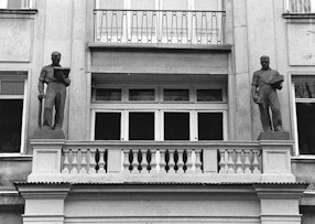 Sculpture decoration of Construction Association\'s building, around 1952