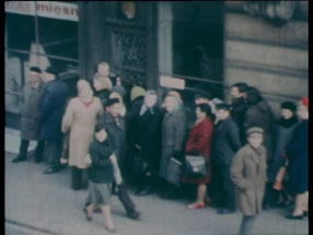 Akademia Ruchu City Theatre in Łódź: Newspapers; Windows/Buses, Trams; Meat Shops/Queues; Queue Extending beyond a Shop, 1977