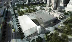 Rendering of the project of the Museum of Modern Art and the TR Warszawa theatre by Thomas Phifer and Partners on Defilad Square