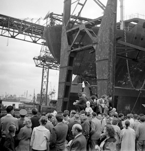 """Prof. Hubert"" tanker launching, 1960"