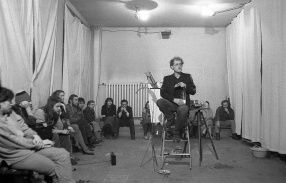 JACEK KRYSZKOWSKI, PERFORMANCE AT DANIEL WNUK\'S WORKSHOP, 1982