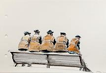 Untitled (Street cleaners on the bench), from the series Citizens, 2009-2010