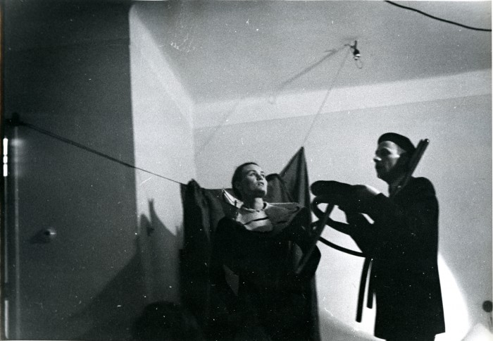 Marek Piasecki, Miron Białószewski and Ludmiła Murawska in Songs for Chair and Voice, Osobny Theatre, 1958