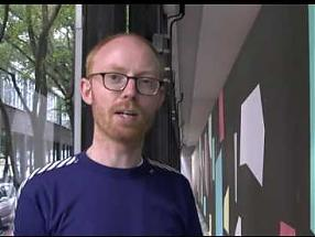 WWB TV. Toby Paterson explaining his new work for the Museum of Modern Art in Warsaw
